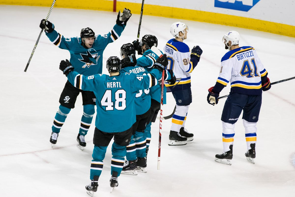 Mar 8, 2018; San Jose, CA, USA; San Jose Sharks left wing Mikkel Boedker (89) celebrates with right wing Joonas Donskoi (27) and right wing Joel Ward and right wing Timo Meier (28) and center Tomas Hertl (48) after scoring a power play goal against the St