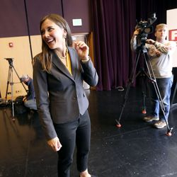 Salt Lake City Councilwoman Erin Mendenhall talks with attendees after participating in a Salt Lake City mayoral debate, hosted by the Downtown Alliance, at the Regent Street Black Box at the Eccles Theater in Salt Lake City on Wednesday, Oct. 9, 2019.