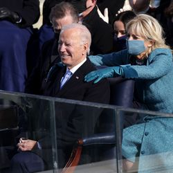 Dr. Jill Biden reacts after her husband, President Joe Biden was sworn in during his inauguration on the West Front of the U.S. Capitol on January 20, 2021 in Washington, DC. During today's inauguration ceremony Joe Biden becomes the 46th president of the United States.