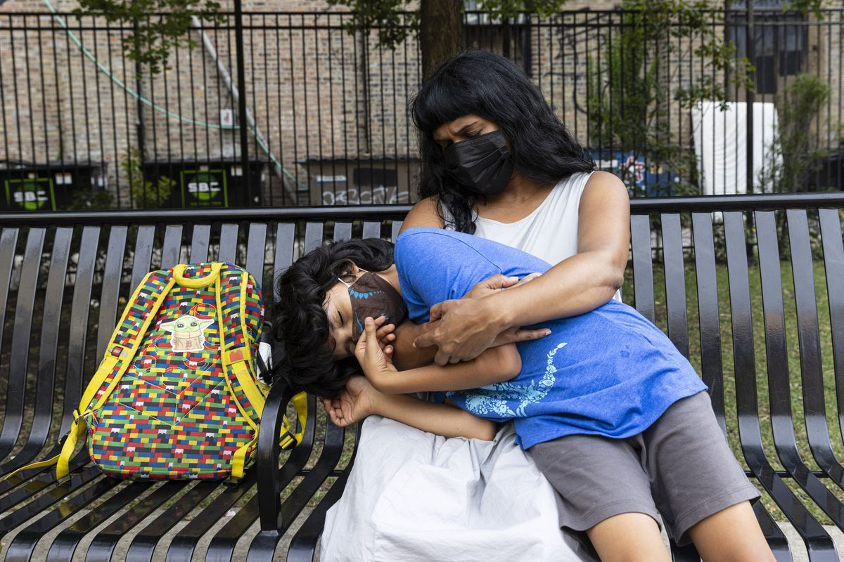 Naoma Nagahawatte is worried about her son Oliver returning to school Monday. She doesn't think the Chicago Public Schools' safety guidelines are strict enough.