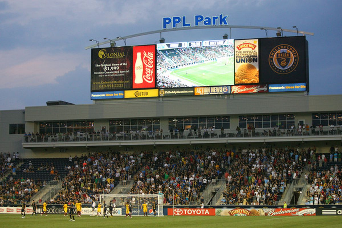 CHESTER PA - AUGUST 11: A view of the video board above the field during a game between Real Salt Lake and the Philadelphia Union at PPL Park on August 11 2010 in Chester Pennsylvania. The game was a 1-1 tie. (Photo by Hunter Martin/Getty Images)
