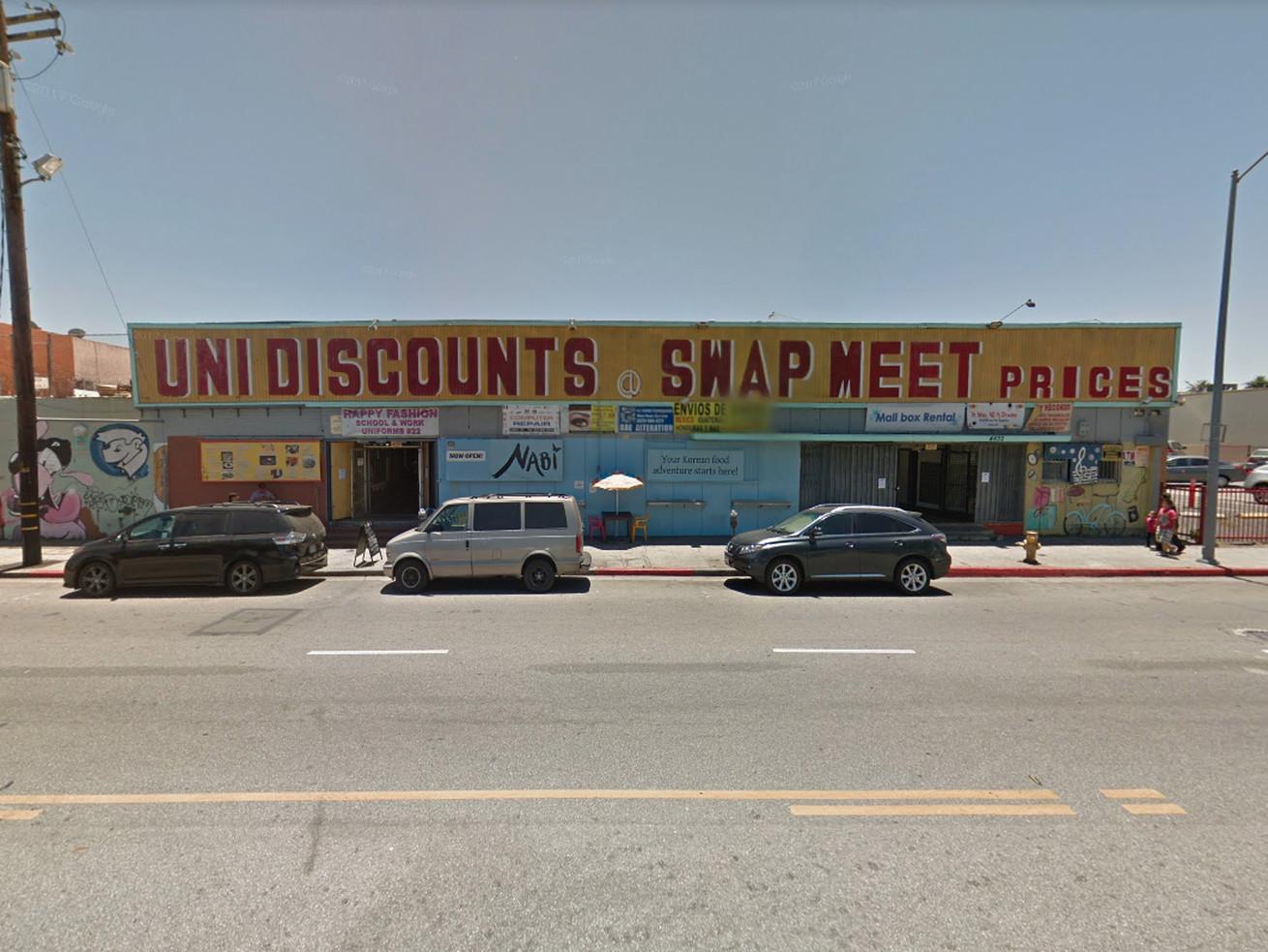 The swap meet at 4632 West Santa Monica Boulevard, just east of the Vermont/Santa Monica rail station.