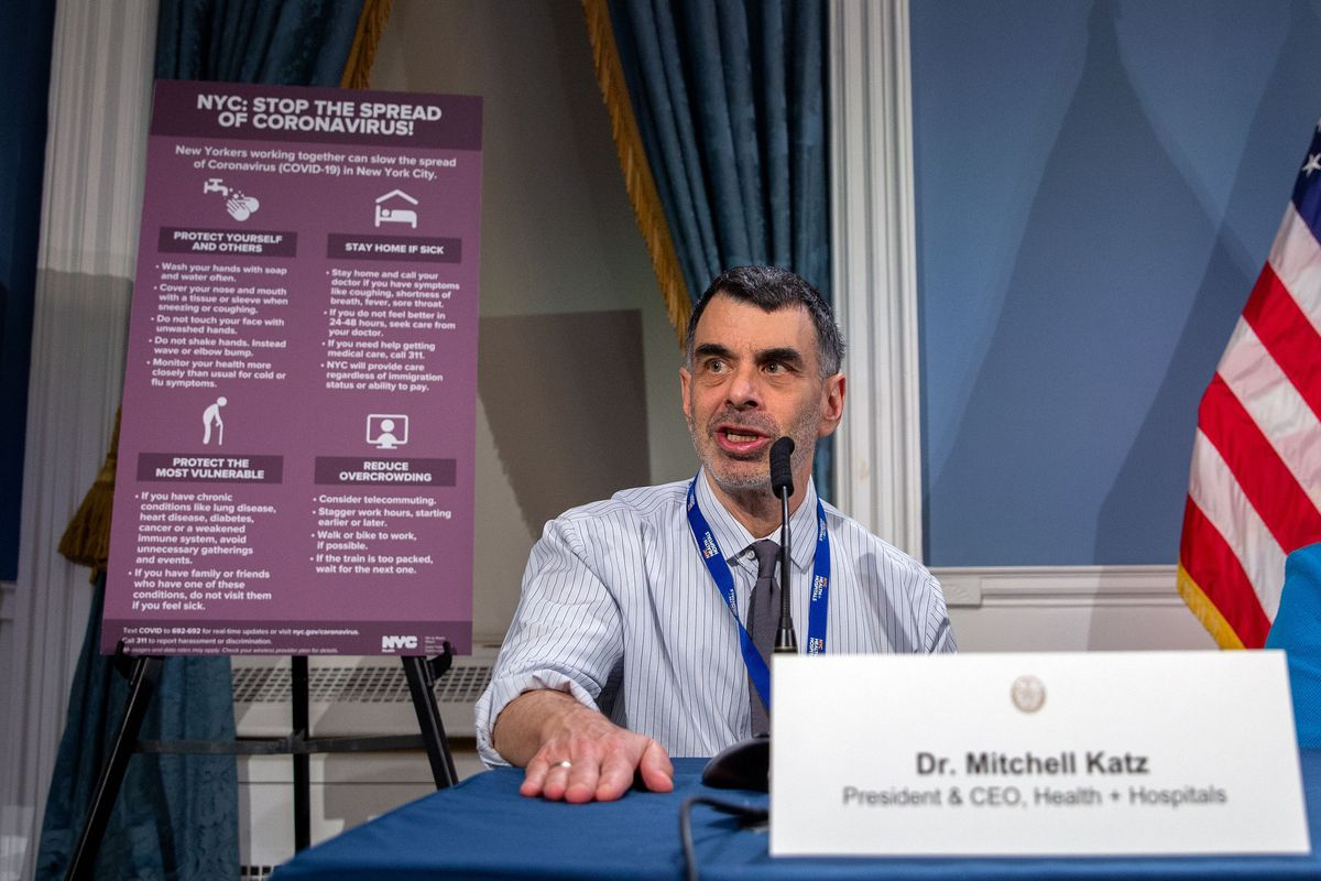 Health and Hospitals President Mitchell Katz speaks during a coronavirus press conference at City Hall.