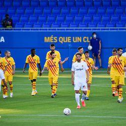 Barcelona players celebrate Dembele's opener