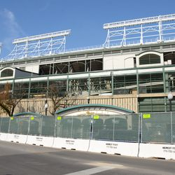 11:15 a.m. The Addison Street side of the ballpark, at Sheffield -