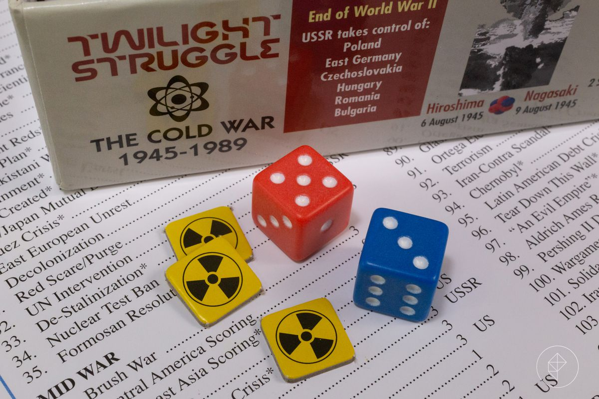 Defcon chits and a pair of dice on top of the list of cards in Twilight Struggle.
