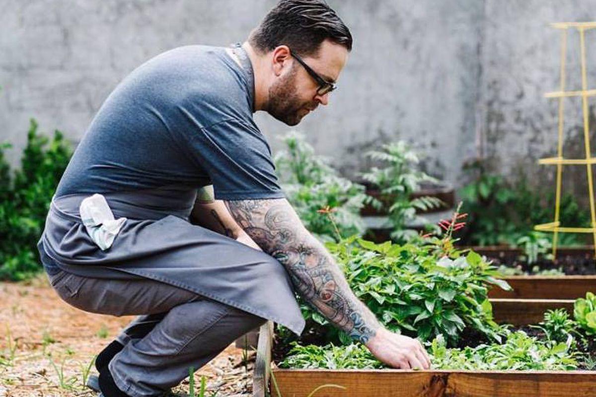 Chef Ryan Smith in the garden at Staplehouse.