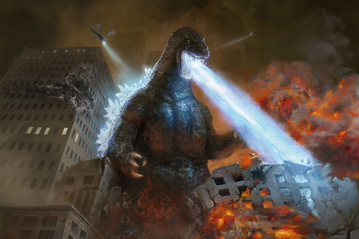 Godzilla doin' his thing, burning buildings and swatting helicopters outta the sky, in art from Magic: The Gathering