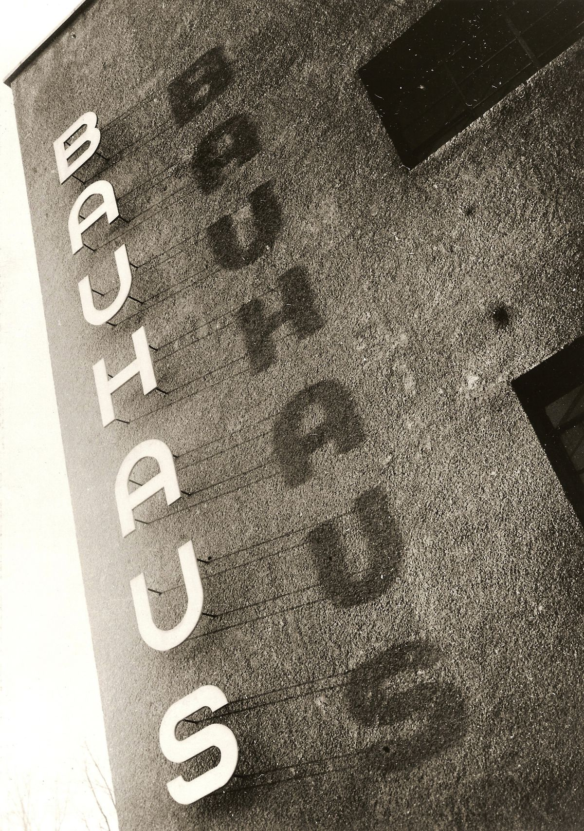 """Lettering on the side of the school, which spells """"Bauhaus."""""""