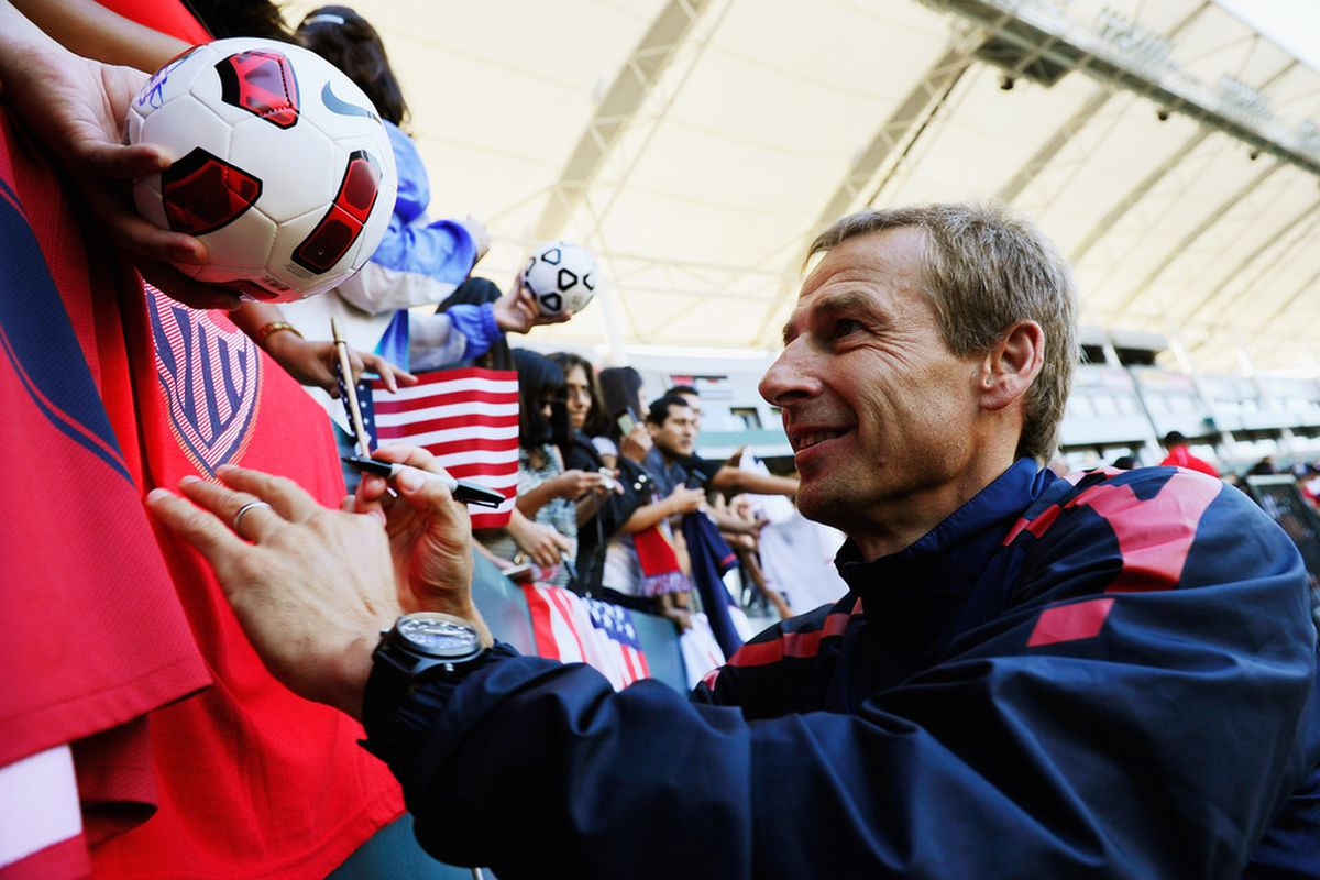 Will Jurgen Klinsmann be able to guide the USMNT to a win in Guatemala on Tuesday night?  (Photo by Kevork Djansezian/Getty Images)