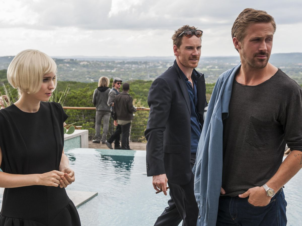 Rooney Mara, Michael Fassbender, and Ryan Gosling in 'Song to Song.'