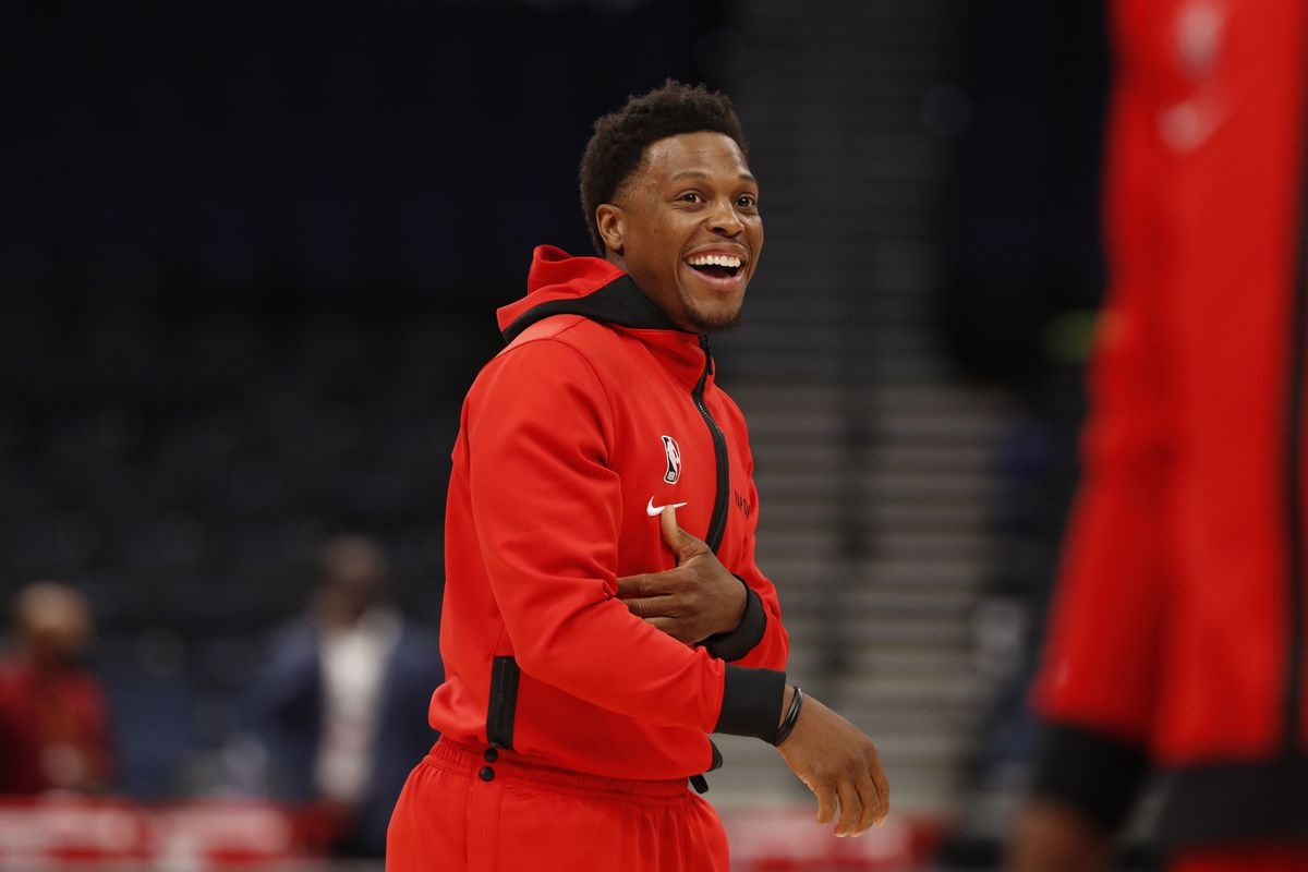 Kyle Lowry of the Toronto Raptors smiles before the game against the Cleveland Cavaliers on April 26, 2021 at Amalie Arena in Tampa, Florida.