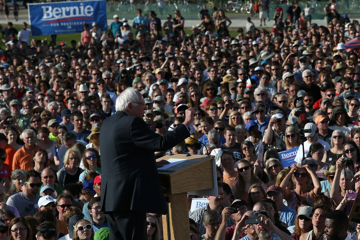 Democratic presidential candidate U.S. Sen. Bernie Sanders (I-VT) delivers remarks while officially announcing his candidacy for the U.S. presidency during an event at Waterfront Park May 26, 2015 in Burlington, Vermont.