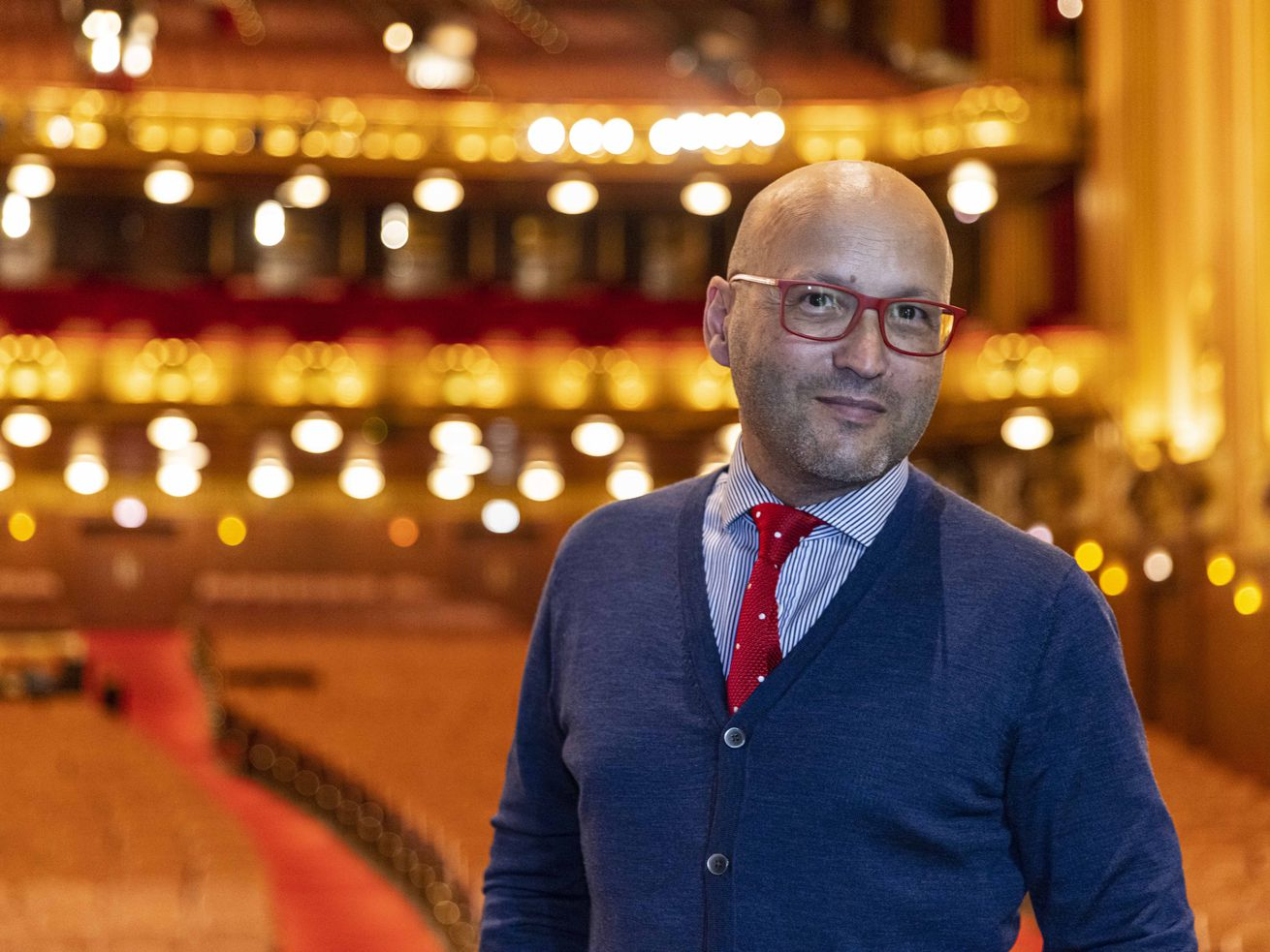Lyric Opera of Chicago's music director Enrique Mazzola is photographed in August at the Lyric Opera house ahead of the 2021 season opening. Anthony Vazquez/Sun-Times