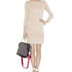 """<a href=""""http://www.theoutnet.com/product/344208"""">Striped fine-knit dress</a>, $95.01 (was $235) (Bag not included)"""