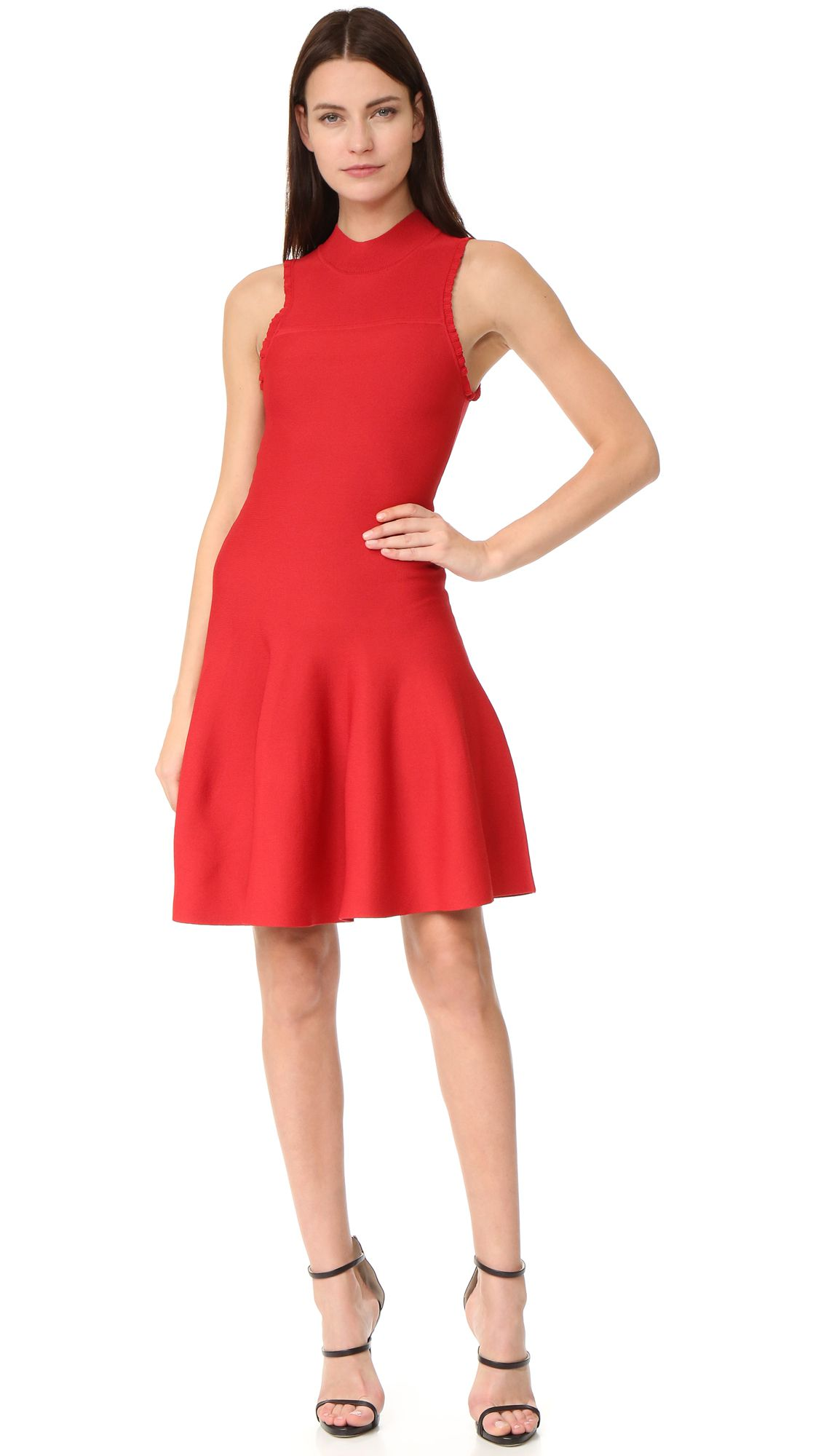 A red flared dress