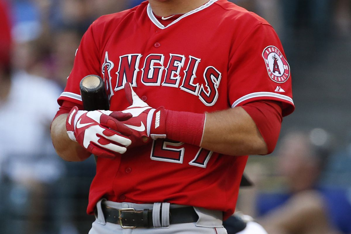 August 1, 2012; Arlington, TX, USA; Los Angeles Angels center fielder Mike Trout (27) reacts to a strike call against the Texas Rangers in the first inning at Rangers Ballpark in Arlington. Mandatory Credit: Jim Cowsert-US PRESSWIRE