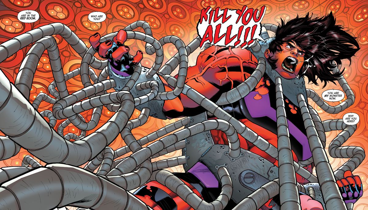 """Jennifer Walters/She-Hulk strains against oodles of metal restraints in the Red Room, her skin turning scarlet as she roars """"KILL YOU ALL!!!"""" in Avengers #46 (2021)."""
