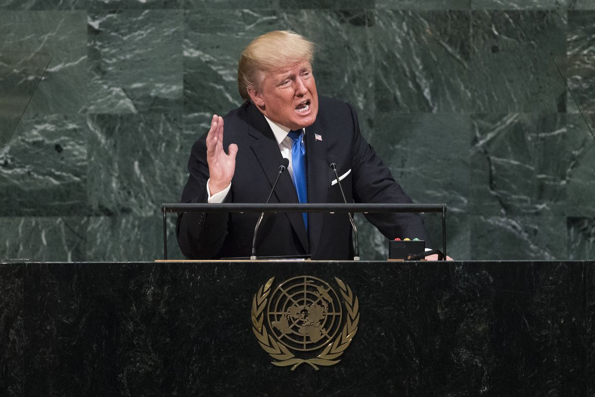 """Trump at the United Nations last year threatened to """"totally destroy"""" North Korea."""