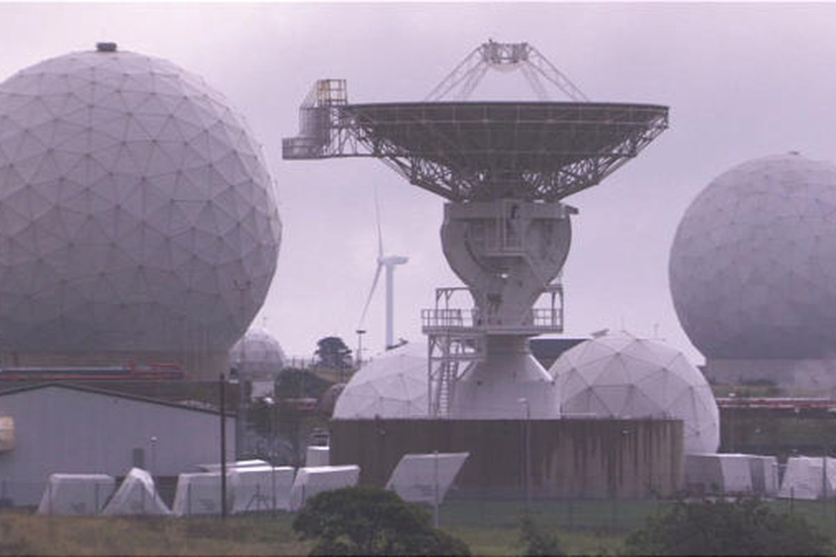 Satellite dishes at the NSA's UK listening post at Menwith Hill, used to eavesdrop on international communications.