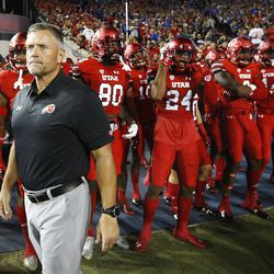 Utah Utes head coach Kyle Whittingham waits for the start of the game in Provo on Saturday, Sept. 9, 2017. Utah won 19-13.