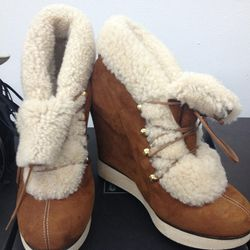 B store shearling wedge booties, $110 (was $540)