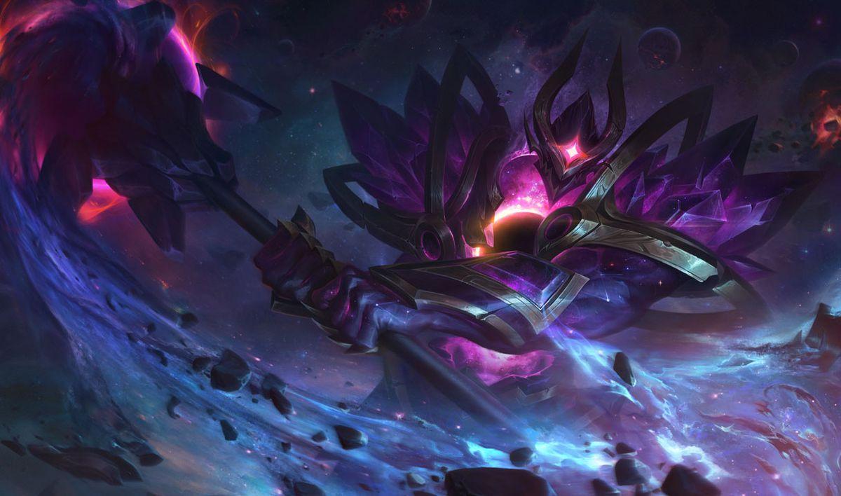 Dark Star Mordekaiser swings his weapon back, drawing in a blue glowing line of space debris
