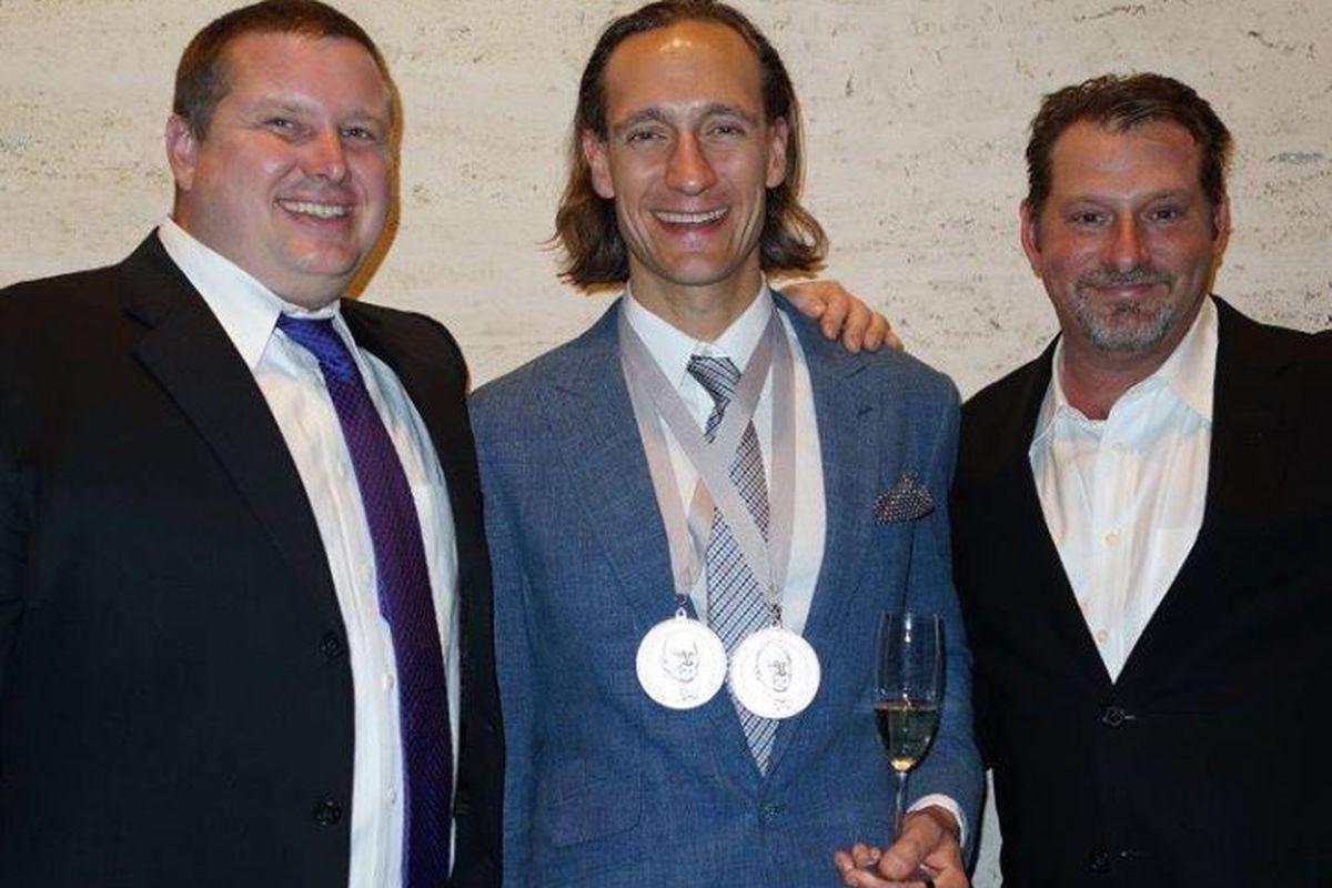 Stephen Stryjewski (L), Ryan Prewitt and Donald Link at the 2014 James Beard Foundation awards.