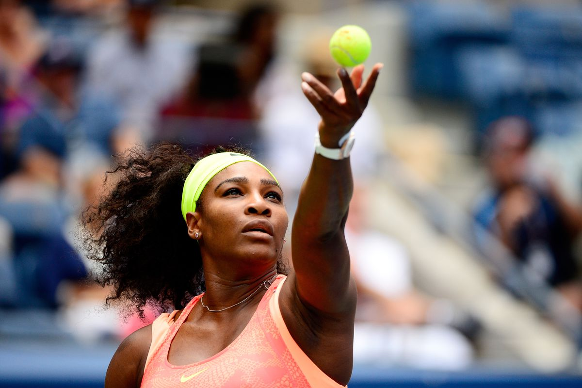 Serena Williams, serving one of the most difficult matches of her career.