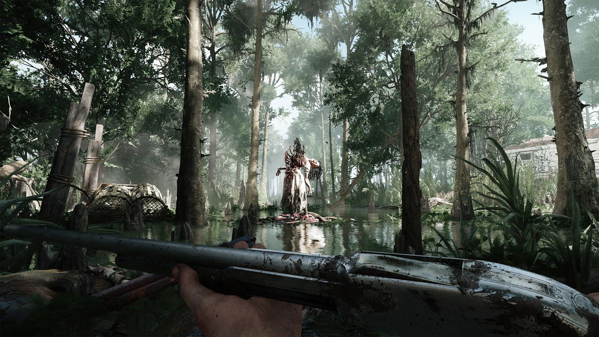 Hunt: Showdown - player holding a shotgun as they walk into a clearing in a swamp