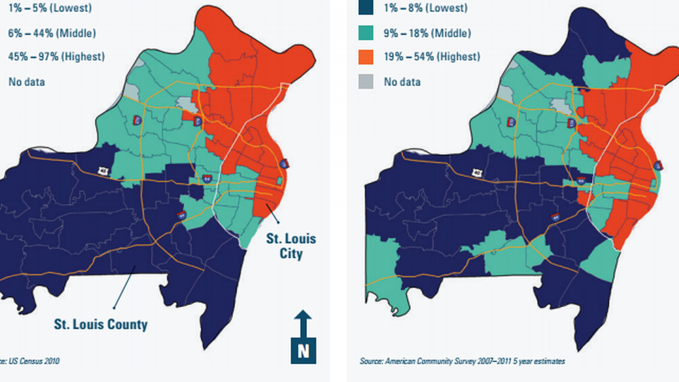 St Louis Map Of Us.Map The Racial And Economic Divide In The St Louis Area Vox