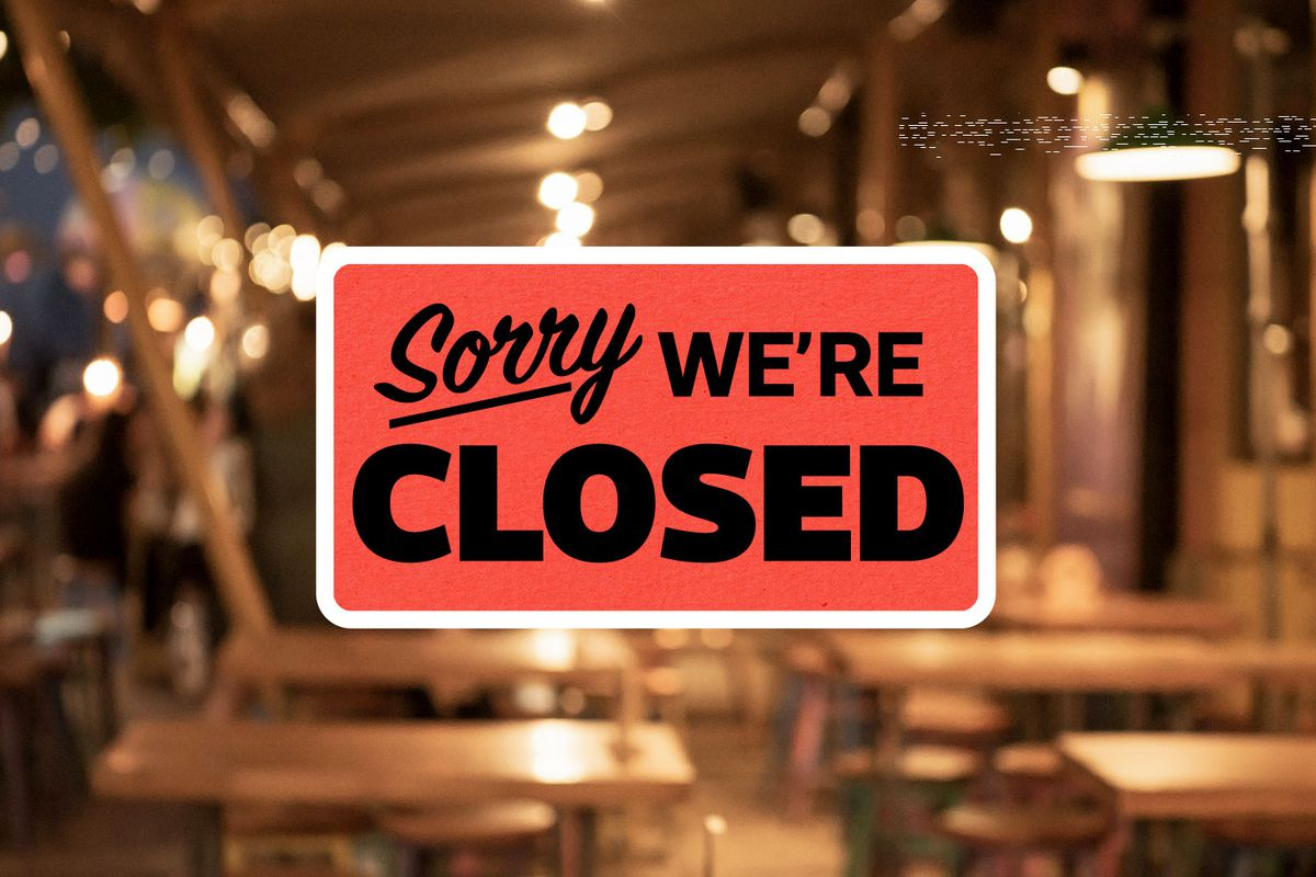 """A """"sorry, we're closed"""" sign."""