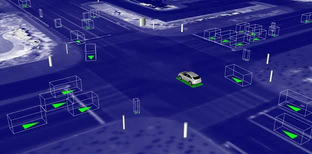 A screen in a self-driving simulation shows the car at a virtual intersection.
