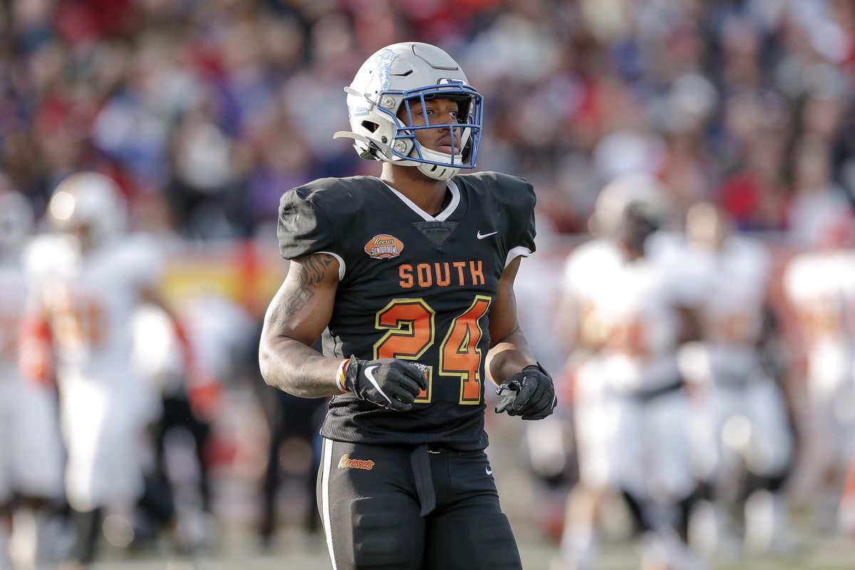 Runningback Antonio Gibson #24 from Memphis of the South Team during the 2020 Resse's Senior Bowl at Ladd-Peebles Stadium on January 25, 2020 in Mobile, Alabama. The North Team defeated the South Team 34 to 17.