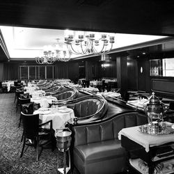 This is the north end of the Hotel Utah's Sky Room and is decorated in the English style in ebony, reds and whites. Dorothy Daraper of New York, whose column appeared in the Deseret News, designed the two rooms as well as the rest of the hotel. Feb. 11, 1961.