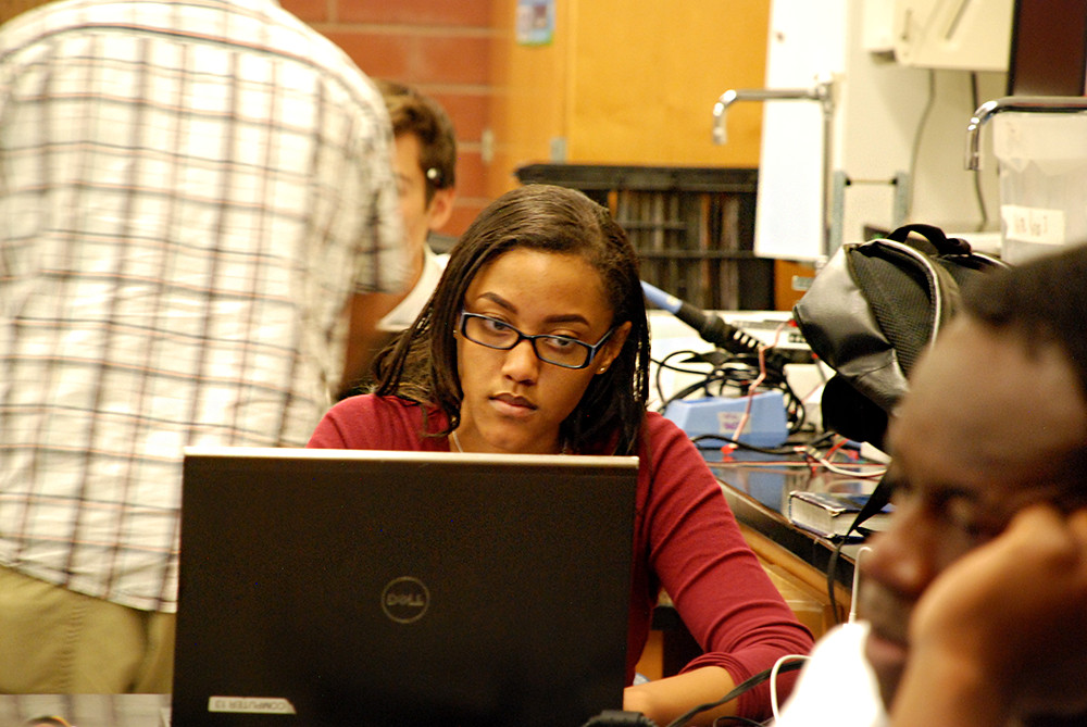 Rangeview junior Coree Morgan works on an assignment in her electronics class.