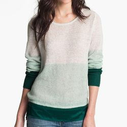 """<b>Hinge</b> Satin Needle Punch Sweater in blue raindrop combo, <a href=""""http://shop.nordstrom.com/s/hinge-satin-needle-punch-sweater/3256330?origin=category&contextualcategoryid=0&fashionColor=Blue-+Raindrop+Combo&resultback=0"""">$88</a> at Nordstrom"""