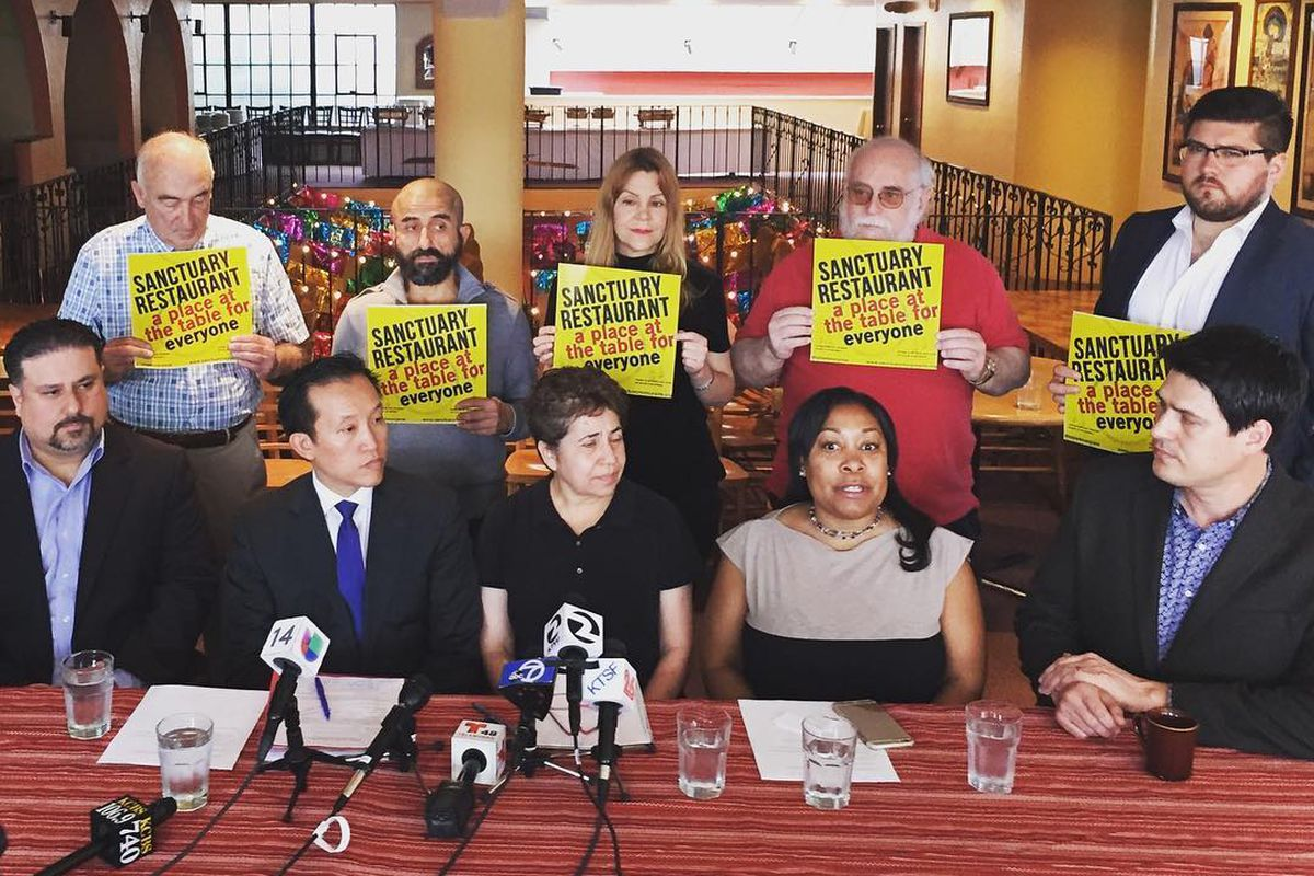A press conference announcing the GGRA's involvement in the sanctuary restaurant movement