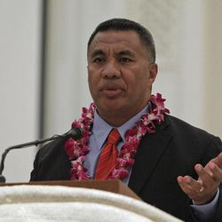 """Former BYU and NFL star Vai Sikahema speaks at the Pacific Islander conference """"Navigating the Future"""" sponsored by the Deseret News as a forum for different issues for Polynesians at the Joseph Smith Building Wednesday, Sept. 21, 2011, Salt Lake City, Utah."""