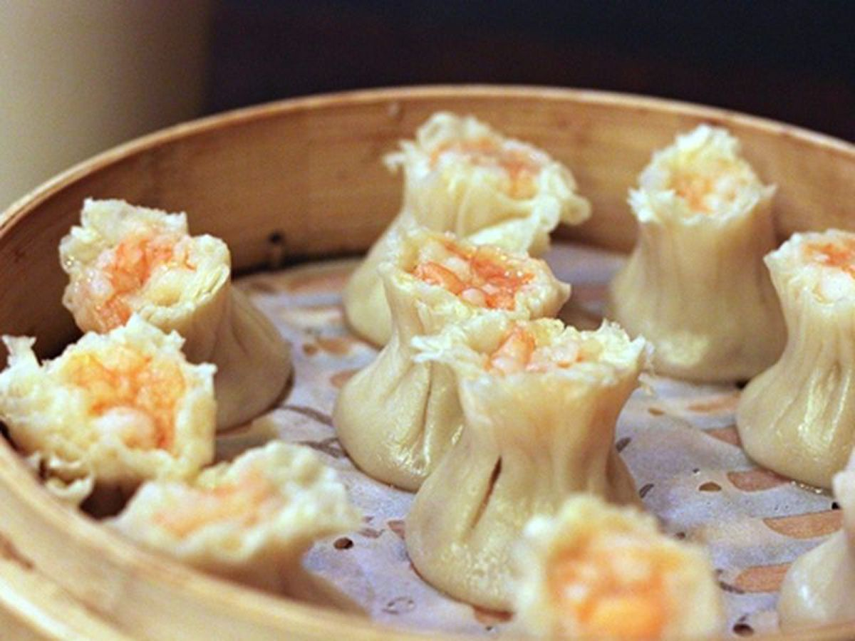 Close-up of shaomai from Din Tai Fung.