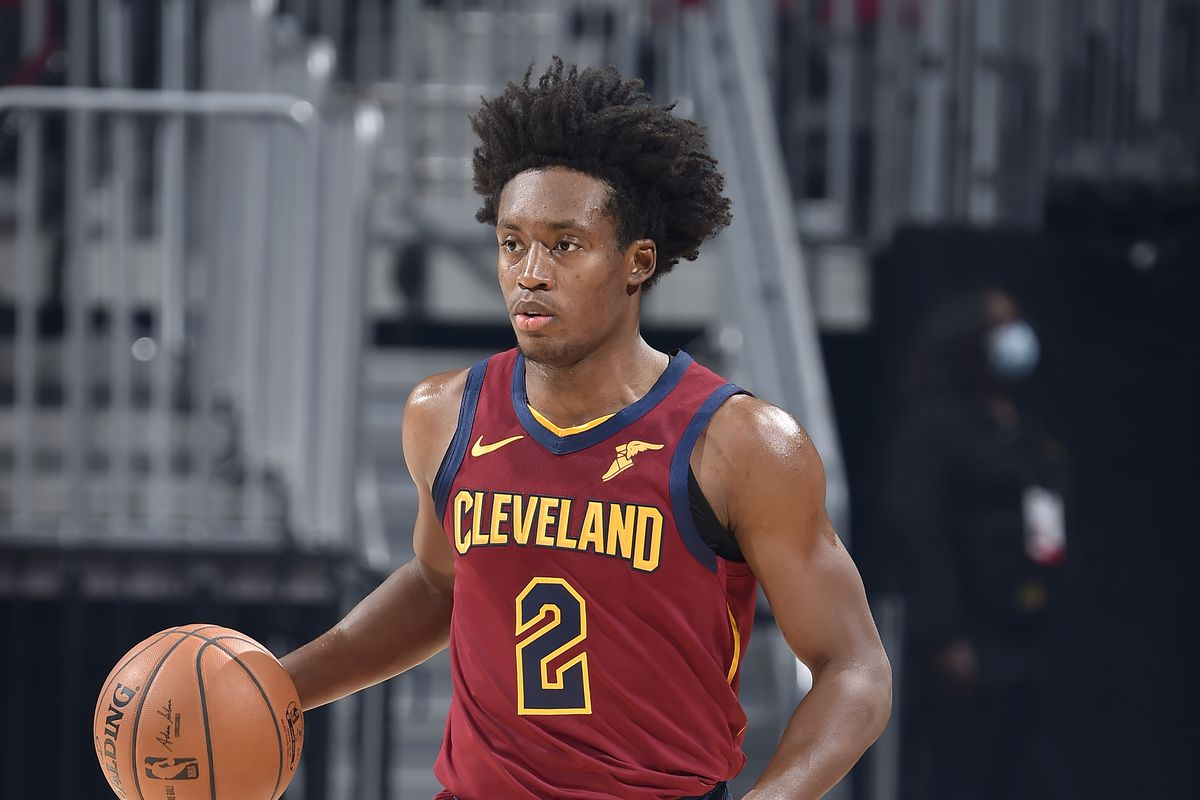 Collin Sexton of the Cleveland Cavaliers handles the ball during the game against the Charlotte Hornets on December 23, 2020 at Rocket Mortgage FieldHouse in Cleveland, Ohio.