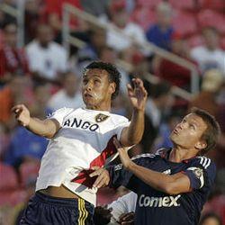 Real Salt Lake's Rachid El Khalifi, left, is defended by Jesse Marsch of Chivas USA at Rio Tinto Stadium Wednesday.