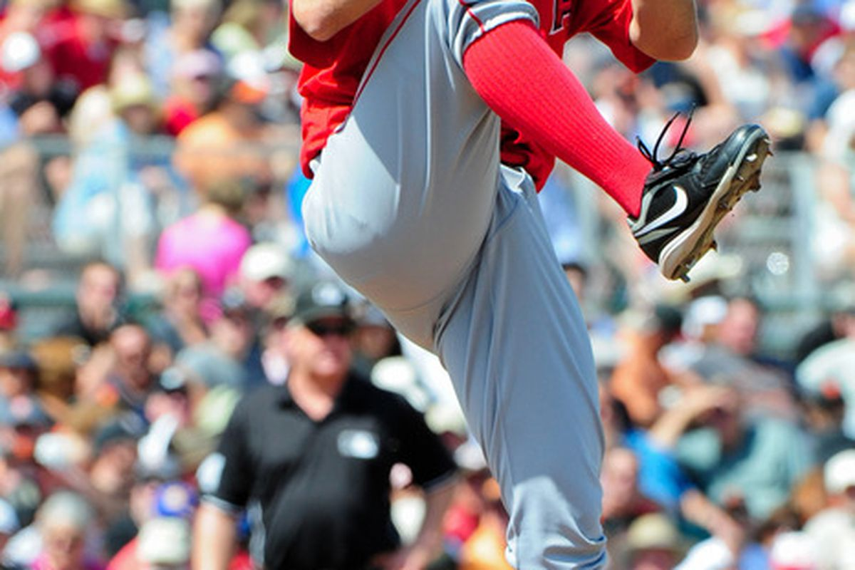 Mar. 27, 2012; Scottsdale, AZ, USA; Los Angeles Angels relief pitcher Brad Mills (59) throws during the second inning against the San Francisco Giants at Scottsdale Stadium.  Mandatory Credit: Matt Kartozian-US PRESSWIRE
