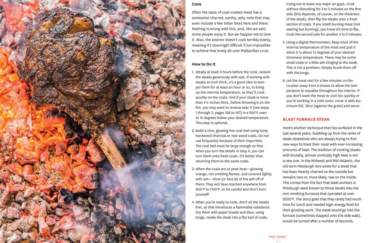Instructions on grilling steaks on coals from Franklin Steak