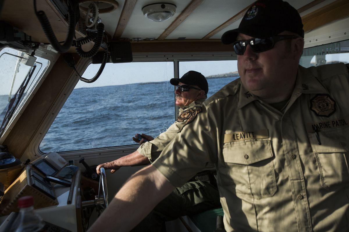 Maine Marine patrolmen near Machias Seal Island.