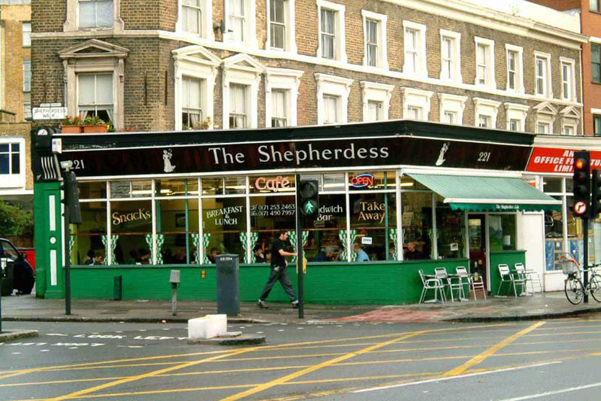 The front of Shepherdess Cafe on City Road in London