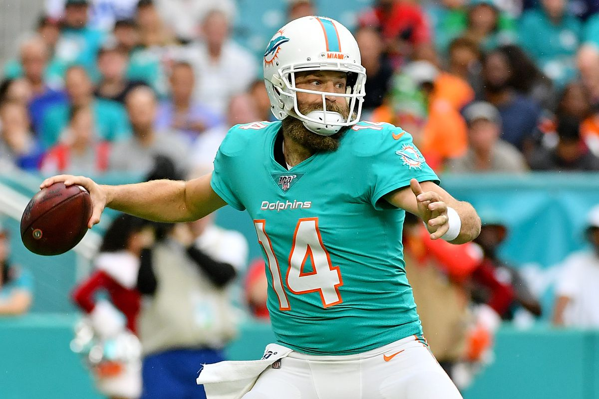Miami Dolphins quarterback Ryan Fitzpatrick attempts a pass against the Cincinnati Bengals during the first half at Hard Rock Stadium.