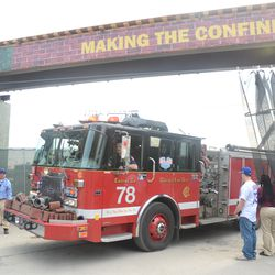 4:57 p.m. Privacy curtain drawn back to allow Engine 78 to pass -