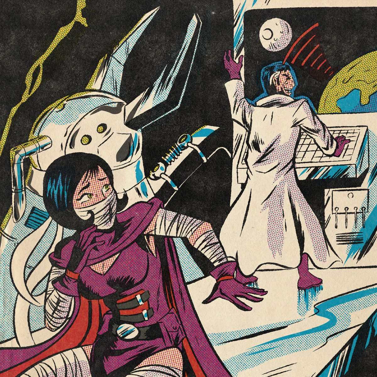 A woman superhero ides behind a bizzare machine while a villain locks on to the moon with a super weapon.