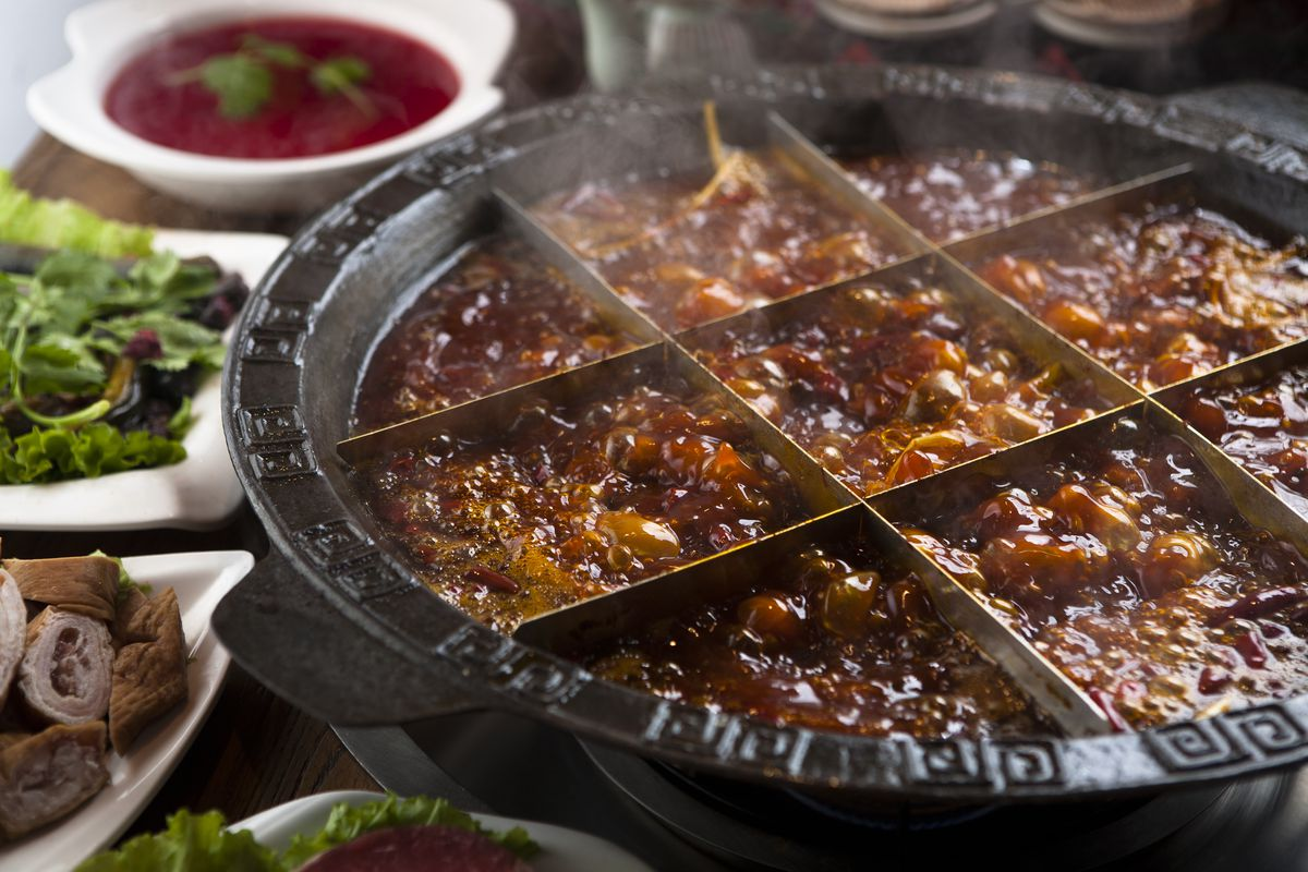 Chongqing hot pot designed with nine chambers separating the pot